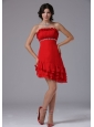 Red Strapless Asymmetrical and Beading For 2013 Homecoming Dress In Berkeley California