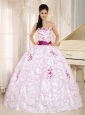 Santa Cruz City White Organza Strapless Military Ball Gowns With Embroidery Decorate