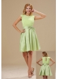 Warrensburg Yellow Green Knee-length Bowknot Decorate Waist Scoop Taffeta and Chiffon Prom / Homecoming Dress For 2013