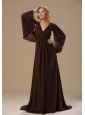 Washington V-neck Brush Train Brown Chiffon Long Sleeves Modest Style 2013 Mother Of The Bride Dress