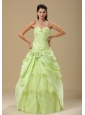 Yellow Green Hand Made Flowers and Ruched Bodice Quinceanera dresses
