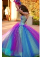 Beautiful Ball Gown Beaded Tulle and Satin 2012 Quinceanera Dress