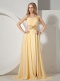 2013 Beaded One Shoulder Chiffon For Yellow Prom / Evening Dress With Brush Train