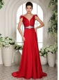 2013 V-neck Cap Sleeves Red  Beading and Ruch Evening Gowns With Brush Train