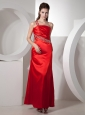 Beaded Decorate One Shoulder and Waist Ankle-length Red Taffeta Ruch Popular Style 2013 Prom / Evening Dress