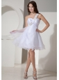 Beaded Decorate Shoulder White Custom Made Prom Dress With Princess Organza