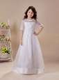 Embroidery Elegant Organza Scoop White A-Line Flower Girl Dress Half Sleeves