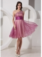 Fuchsia One Shoulder Appliques Knee-length Belt Cocktail Dress For Club
