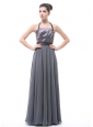 Grey Halter Ruch Black Belt Bridesmaid Dress For Custom Made