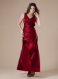 Hand Made Flowers V-neck Ankle-length Wine Red 2013 Bridesmaid Dress