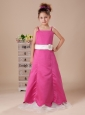 Hot Pink And White A-Line Straps Satin Hand Made Flowers Beautiful Flower Girl Dress