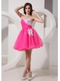 Hot Pink Appliques Strapless A-line Organza Stylish Prom Gowns For Customize