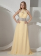 Light Yellow and Belt For Custom Made Evening Dress With Chiffon