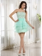 Lovely Apple Green A-line Ruffled Layeres Prom Cocktail Dress Beading