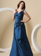 Navy Blue V-neck Ruched Bodice and Hand Made Flowers For Bridesmaid Dress