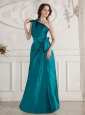 One Shoulder and Bowknot For Bridesmaid Dress   With Turquoise