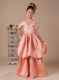 Orange Red Short Sleeves High Neck A-line Flower Girl Dress With Back Bowknot Hottest