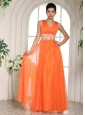 Orange Red V-neck Ruched Decorate Bust and Beading Popular Prom Celebrity Dress