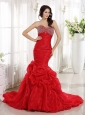 Red Mermaid Sweetheart Celebrity Prom Dress Beaded Decorate Bust and Ruch