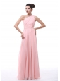 Ruched and Beading Decorate Bodice Light Pink Chiffon One Shoulder Floor-length 2013 Bridesmaid Dress