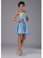 Simple A-Line / Princess Taffeta Strapless Mini-length Light Blue Homecoming Dress