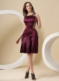 Straps Burgundy For Custom Made Prom Dress With Mini-length