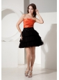 Tulle Black and Orange Strapless Necline Mini-length Custom Made Short Prom Dress With Deaded Decorate Waist