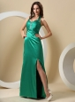 Turquoise High Slit Halter Ruched Bodice and Beaing For Evening Dress