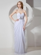 White Chiffon Sweetheart Neckline Ruch and Beading Decorate