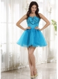 Wholesale Ruched Bodice Bow 2013 Prom Cocktail Dress With Teal