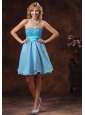 2013 Baby Blue Sweetheart Beaded Decorate Prom Dress With Mini-length in Cocktail