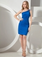 2013 Royal Blue One Shoulder Mini-length Beaded Cocktail Dress For Club