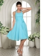 Aqua Blue Halter Sash Chiffon Dama Dresses For Quinceanera Knee-length