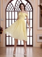 Asymmetrical Shoulder Light Yellow and Ruched Bodice For Prom Dress