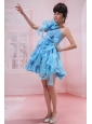 Baby Blue One Shoulder A-line Mini-length Hand Made Flowers Stylish Customize Prom Gowns