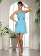 Baby Blue Ruched Decorate Bust and Belt 2013 Homecoming Dress Custom Made