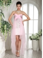 Baby Pink Beaded Over Bodice High-low Sweetheart Prom Dress For Custom