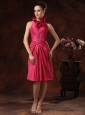 Beaded and Ruched For Hot Pink Halter Prom Dress Knee-length