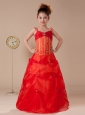 Beaded Decorate Shoulder Straps Coral Red Organza Flower Girl Dress Floor-length