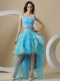 Beaded Decorate Straps and Waist A-line High-low For Prom Dress