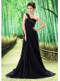 Black One Shoulder Prom Dress Appliques and Ruch In Graduation