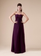 Burgundy Chiffon Bridesmaid Dress With Strapless Neckline Ruch Decorate