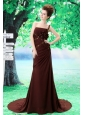 Custom Made One Shoulder Mother of the Bride Dress Beading and Ruch In Celebrity