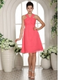 Custom Made V-neck Watermelon Ruched Decorate Bust 2013 Homecoming Dress