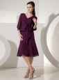 Dark Purple Empire V-neck Knee-length Mother Of The Bride Dress Chiffon