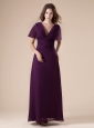 Dark Purple Mother Of The Bride Dress Column Short Sleeves Chiffon Ruch