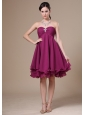 Fuchsia Homecoming Dress With Sweetheart Neckline Knee-length Beaded Decorate