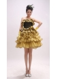 Gold Ruffled Layers For Custom Made Prom Dress