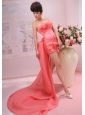 Hand Made Flowers and Beading Decorate Bodice Coumn Watermelon Red  2013  Prom Dress
