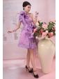 Hand Made Flowers One Shoulder Lace and Organza Lavender Knee-length Prom Dress